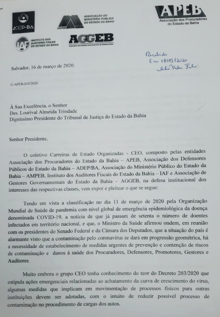 CEO pede que Tribunal de Justiça avalie a paralisação parcial de atividades